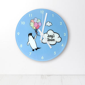 Percy Penguin Personalised Wall Clock - One of a Kind Gifts UK