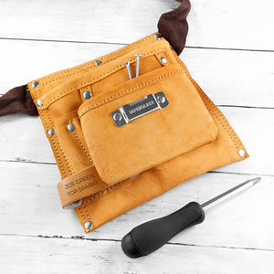 Personalised 6-pocket Leather Tool Belt - One of a Kind Gifts UK
