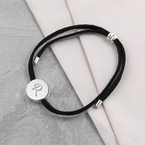 Personalised Always with You Initial Black Bracelet - One of a Kind Gifts UK