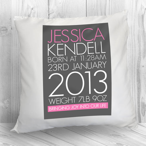 Personalised Baby Cushion Cover in Pink - One of a Kind Gifts UK