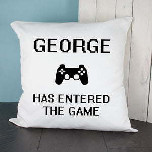 Personalised Baby Has Entered The Game Cushion Cover - One of a Kind Gifts UK