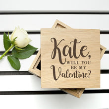 Load image into Gallery viewer, Personalised Be My Valentine Oak Photo Cube - One of a Kind Gifts UK