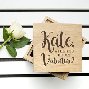 Personalised Be My Valentine Oak Photo Cube - One of a Kind Gifts UK