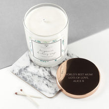Load image into Gallery viewer, Personalised Bergamot & Clary Sage Candle With Copper Lid - One of a Kind Gifts UK