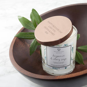 Personalised Bergamot & Clary Sage Candle With Copper Lid - One of a Kind Gifts UK