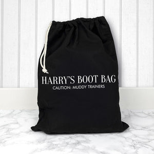 Personalised Black Boot Bag - One of a Kind Gifts UK