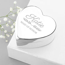 Load image into Gallery viewer, Personalised Bridal Party Heart Jewellery Box - One of a Kind Gifts UK