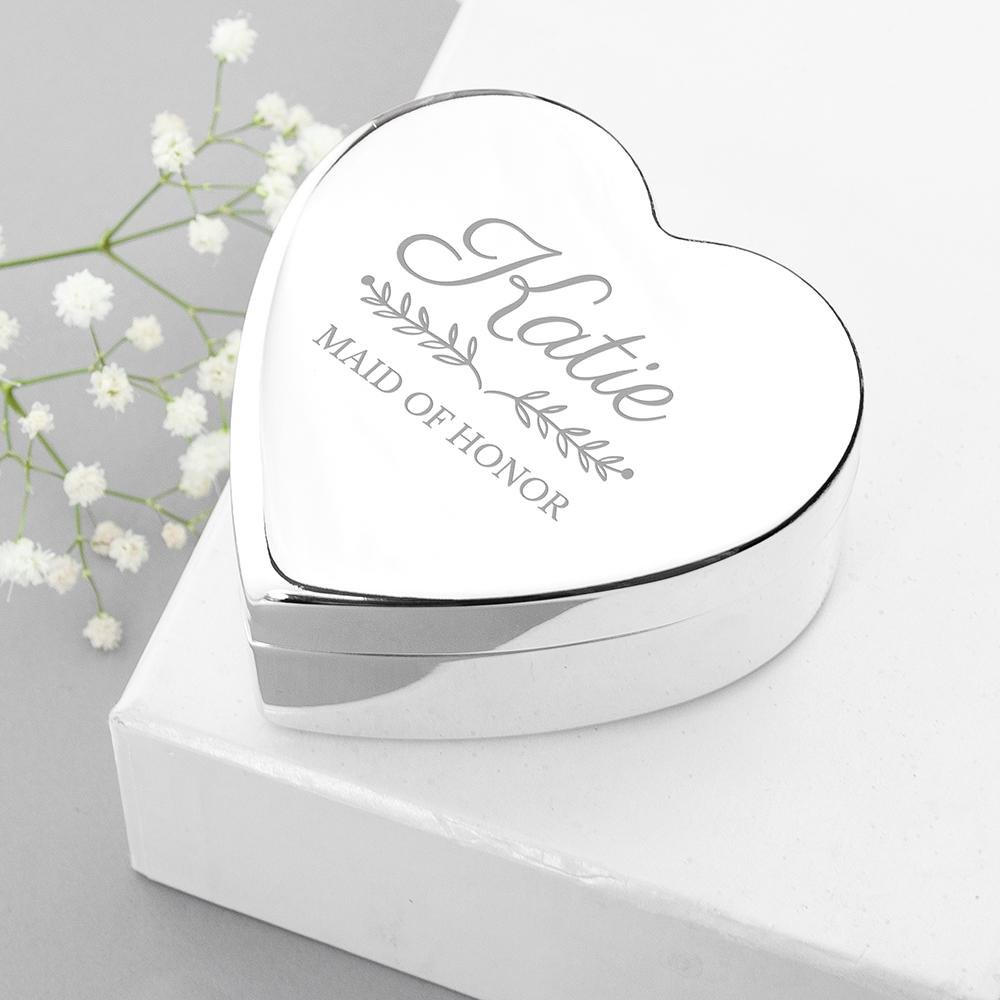 Personalised Bridal Party Heart Jewellery Box - One of a Kind Gifts UK