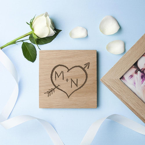 Personalised Carved Heart Oak Photo Cube - One of a Kind Gifts UK