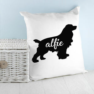 Personalised Cocker Spaniel Silhouette Cushion Cover - One of a Kind Gifts UK