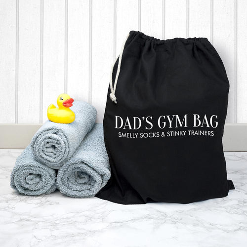 Personalised Cotton Black Gym Bag - One of a Kind Gifts UK