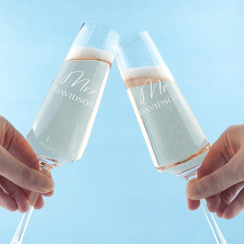 Personalised Couples' Champagne Flute Set - One of a Kind Gifts UK