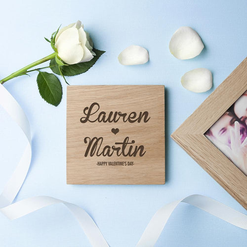 Personalised Couple's Names Oak Photo Cube - One of a Kind Gifts UK