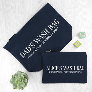 Personalised Daddy & Me Navy Wash Bags - One of a Kind Gifts UK