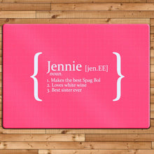 Load image into Gallery viewer, Personalised Definition Glass Chopping Board - One of a Kind Gifts UK