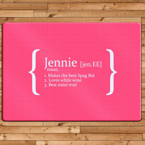 Personalised Definition Glass Chopping Board - One of a Kind Gifts UK