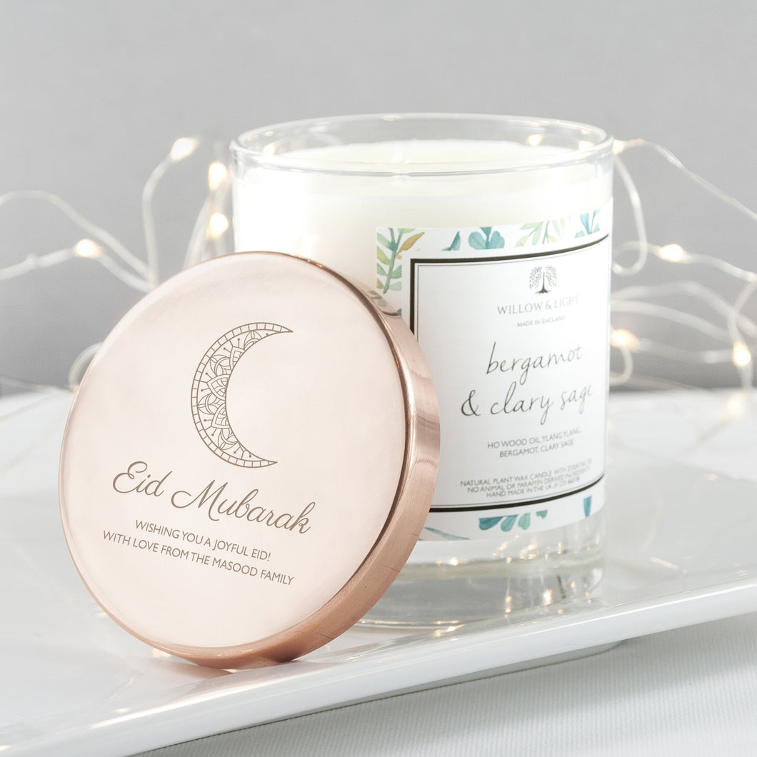 Personalised Eid Mubarak Bergamot & Clary Sage Candle - One of a Kind Gifts UK