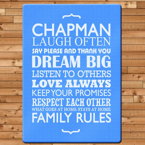 Personalised Family Rules Glass Chopping Board - One of a Kind Gifts UK