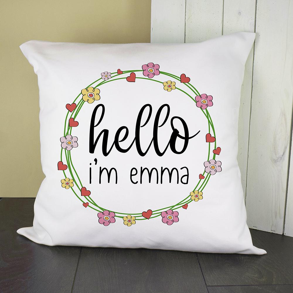 Personalised Floral Frame Cushion Cover - One of a Kind Gifts UK