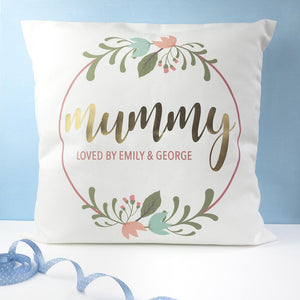 Personalised Floral Wreath Cushion Cover - One of a Kind Gifts UK