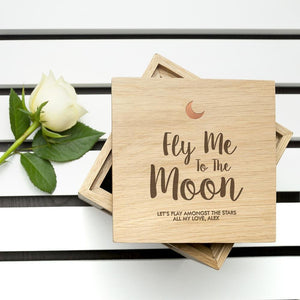 Personalised Fly Me To The Moon Oak Photo Cube - One of a Kind Gifts UK