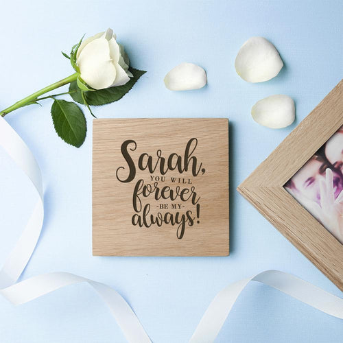 Personalised Forever My Always Oak Photo Cube - One of a Kind Gifts UK