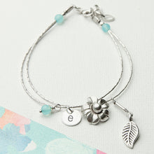 Load image into Gallery viewer, Personalised Forget Me Not Friendship Bracelet With Blue Topaz Stones