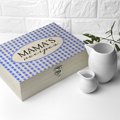 Personalised Gingham Blue Recipe Box - One of a Kind Gifts UK