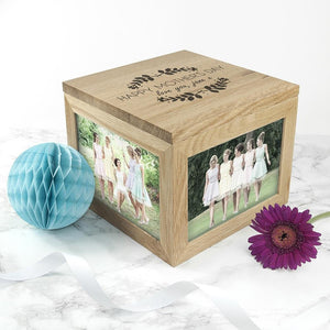 Personalised Happy Mother's Day Large Oak Photo Cube - One of a Kind Gifts UK