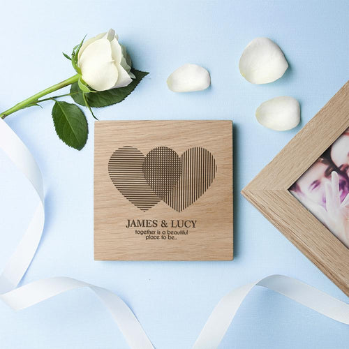 Personalised Heart Venn Diagram Oak Photo Cube - One of a Kind Gifts UK