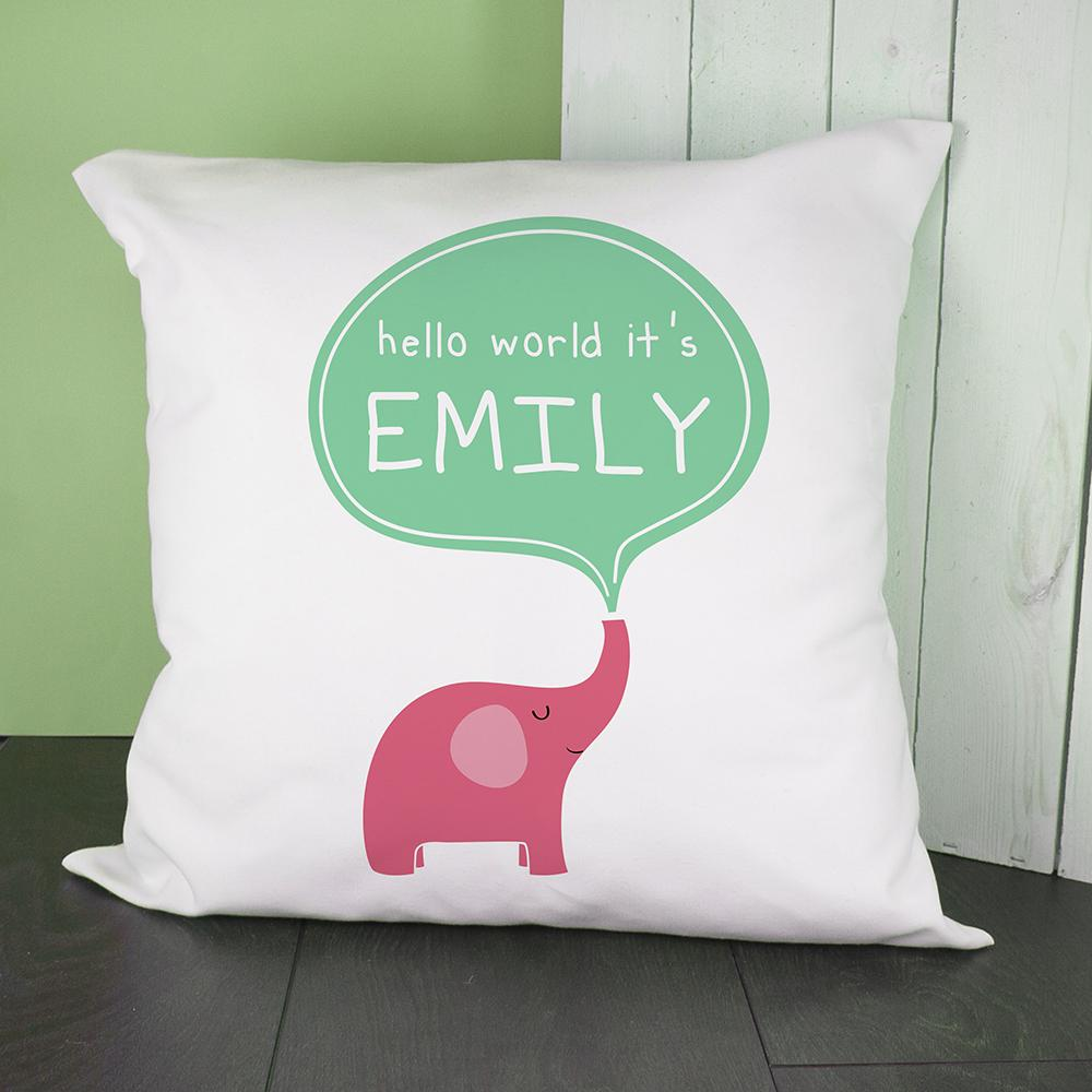 Personalised Hello Baby Elephant Cushion Cover - One of a Kind Gifts UK