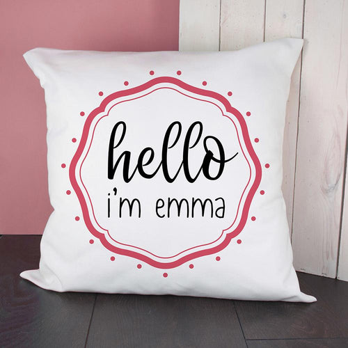 Personalised Hello Baby In Pink Frame Cushion Cover - One of a Kind Gifts UK