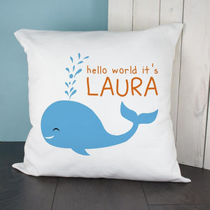 Personalised Hello Whale Cushion Cover - One of a Kind Gifts UK