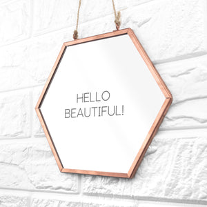 Personalised Hexagon Copper Mirror - One of a Kind Gifts UK