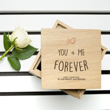 Load image into Gallery viewer, Personalised Infinite Love Oak Photo Cube - One of a Kind Gifts UK