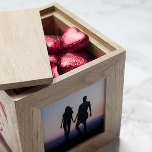 Personalised Infinite Love Oak Photo Cube - One of a Kind Gifts UK