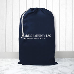Personalised Large Navy Laundry Bag - One of a Kind Gifts UK