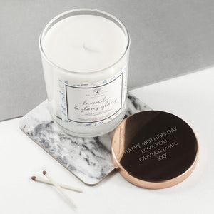 Personalised Lavender & Ylang Ylang Candle With Copper Lid - One of a Kind Gifts UK