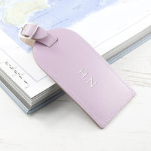 Load image into Gallery viewer, Personalised Lilac Foiled Leather Luggage Tag - One of a Kind Gifts UK
