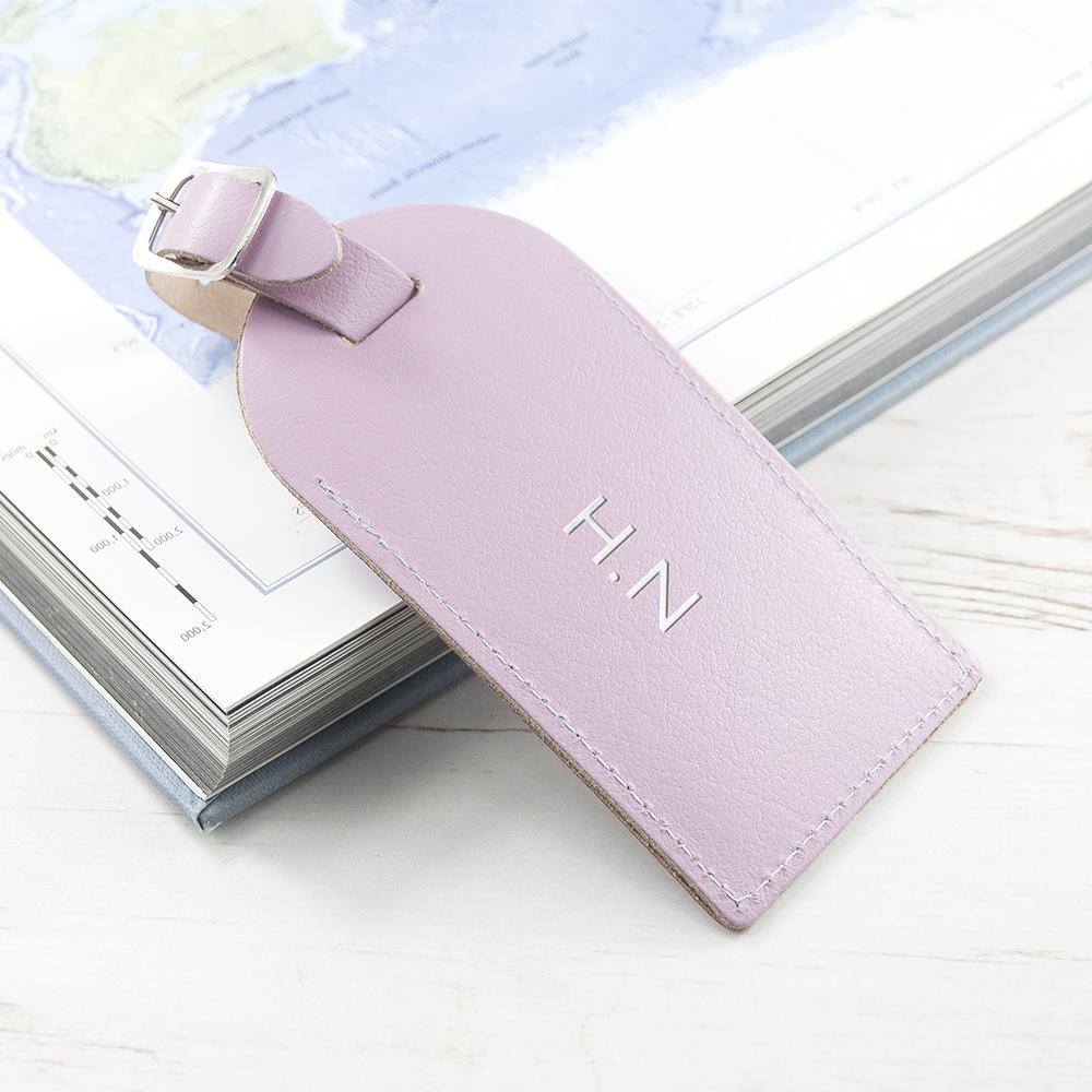 Personalised Lilac Foiled Leather Luggage Tag - One of a Kind Gifts UK