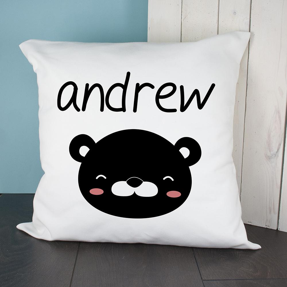 Personalised Little Bear Face Cushion Cover - One of a Kind Gifts UK