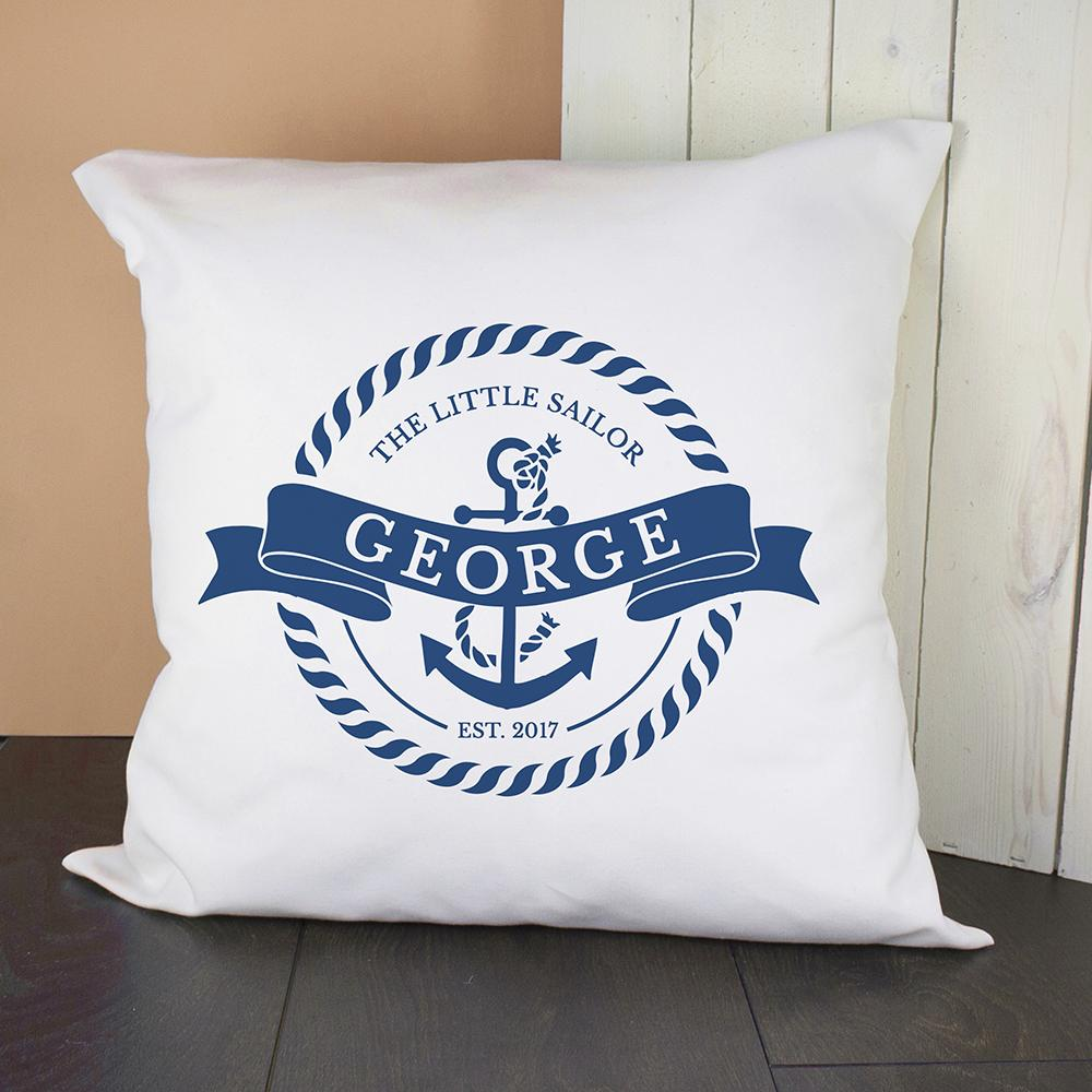 Personalised Little Sailor With Anchor Cushion Cover - One of a Kind Gifts UK