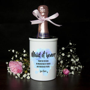 Personalised Maid of Honor Miniature Champagne Bucket - One of a Kind Gifts UK