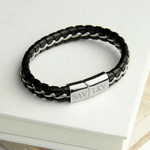 Load image into Gallery viewer, Personalised Men's Metal Detailed Leather Bracelet