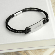 Load image into Gallery viewer, Personalised Men's Statement Leather Bracelet in Black - One of a Kind Gifts UK