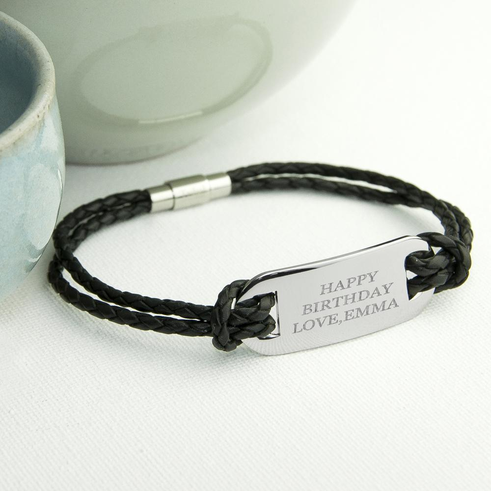 Personalised Men's Statement Leather Bracelet in Black - One of a Kind Gifts UK