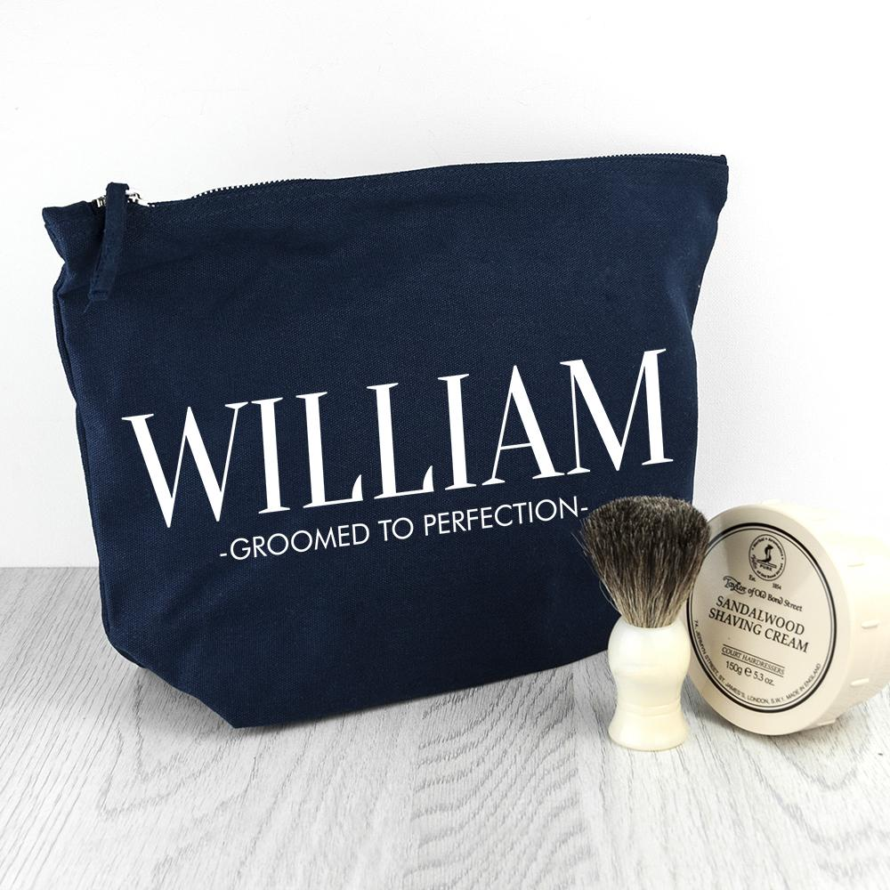 Personalised Men's Wash Bag in Navy - One of a Kind Gifts UK