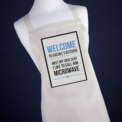 Personalised Microwave Apron Pink or Blue - One of a Kind Gifts UK