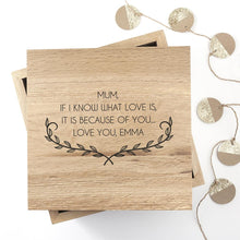 Load image into Gallery viewer, Personalised Mother's Love Large Oak Photo Cube - One of a Kind Gifts UK