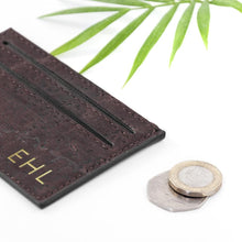 Load image into Gallery viewer, Personalised Natural Vegan Leather Cork Card Holder - One of a Kind Gifts UK